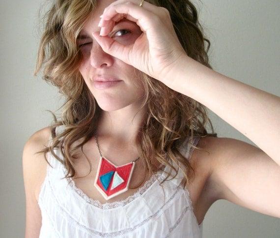 Echo Necklace - tribal geometric shapes - fiber statement piece - by Corrieberry Pie