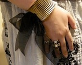 Corset Cuff Bracelet with Organdy Bow