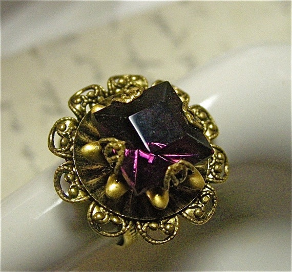 Filigree Cocktail Ring with Amethyst Glass Jewel on Adjustable Band