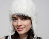 White Bjork Hat Ear Flaps