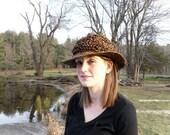 Chocolatey Brown Flecked Wide Brim Travel Crunch Hat Unisex
