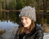 Super Chunky Grey Faux Shearling Hat