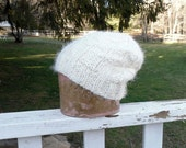 Bulky Super Soft Winter White Slouch Hat