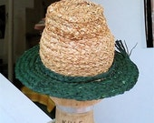 Forest Green and Natural Fedora Hat
