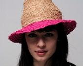 Spring Summer Raffia Fedora Hat Natural and Pink