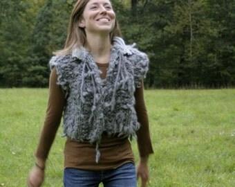 Grey Faux Shearling Vest