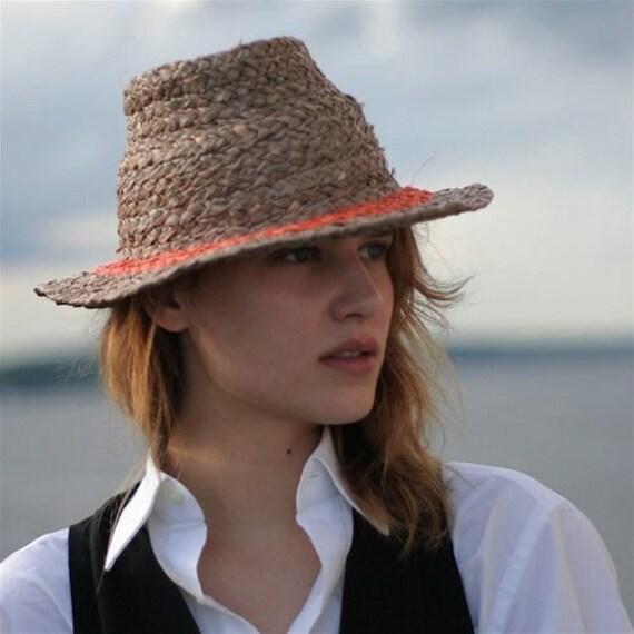 Mocha Raffia Fedora Hat with Orange trim Unisex