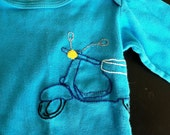 Blue Upcycle Scooter 12-18M Organic Onesie