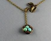 Bird Nest Necklace, Lariat Necklace, Lariat, Bird, Nest, Bird Nest, Three Leaf Lariat, Turquoise Bird Nest Necklace Lariat