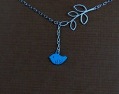Five Petals Leaf Turquoise Blue Bird White Gold Plated Chain Lariat Necklace
