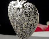 Silver, Large Locket, Heart, Locket, Large Heart Locket, Heart, Vintage Locket, Sparrow, Humming Bird Locket-TRUE LOVE