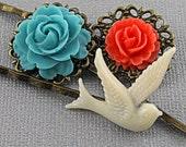 Vintage Bronze Coral Aqua Bird Bobby pins-  STRAWBERRY SORBET