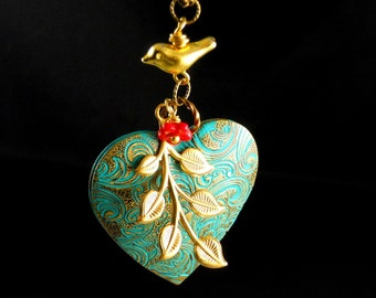 Valentine Sale Bohemian Heart Shaped Bird Brass Branch Vintage Locket, Valentine Patina Brass Locket, Bird Red Woodland