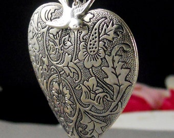 Silver, Large Locket, Heart, Locket, Large Heart Locket, Heart, Vintage Locket, Sparrow, Humming Bird Locket-TRUE LOVE