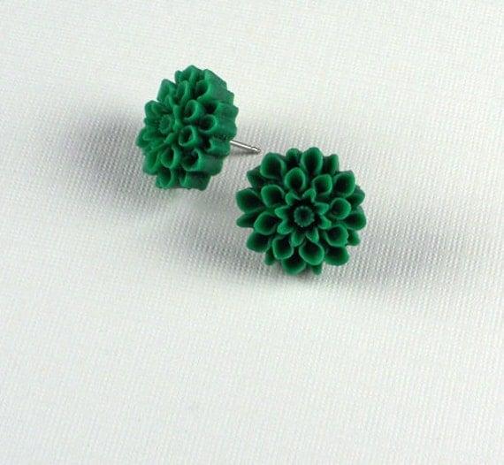 Free Ship Chrysanthemum Teal Green Surgical Steel Post Earrings