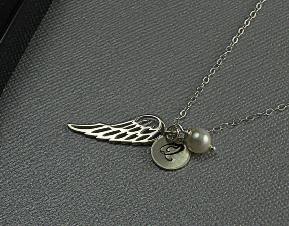 Thai Sterling Silver Angel Wing Necklace, Personalized Initial Necklace Swarovski White Pearl Sterling Silver Chain Necklace- UNDER MY WING