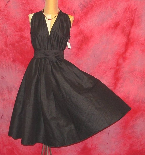 Black Silk Swing Dress