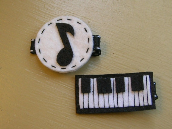 Felt Music Note and Keyboard Clip Set-SEE SHIPPING NOTE