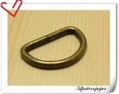 1.5  inch Inner size Old brass  D-rings 10pcs 5mm thickness AB47