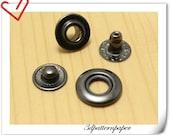Open top  Snap Fastener  30 sets 15mm Gunmetal  Make of Copper  washable G66