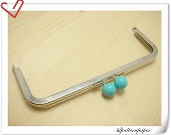 8 inch x 3 inch Blue bobble Nickel purse frame (without loops) purse making supplies Y1K