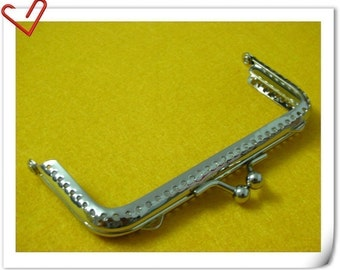 4 inch nickel square purse frame clip clasp with sew holes B57