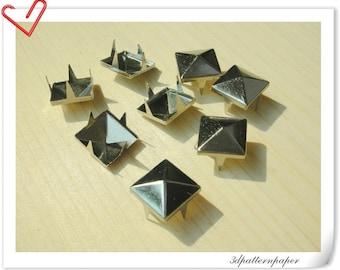 100 pcs  silver  8.5mm Pyramid Studs  non rusting make from copper  AAA quality   i2