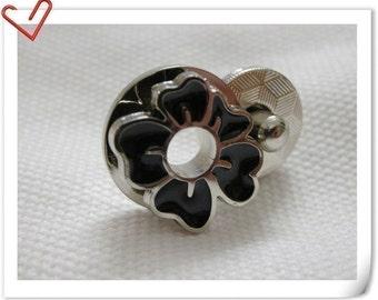 17mm flower Magnetic Snaps bag button purse Magnetic Snaps button Black colour F61