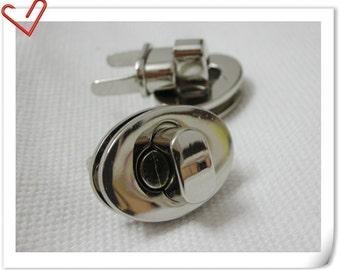 one Pcs 1 inch twist lock Purse Lock turn lock  Nickel E68
