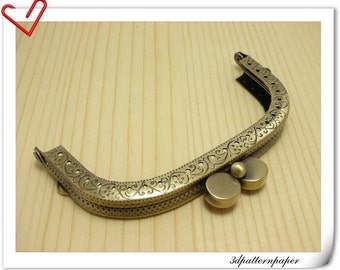 3 1/2 inch Brushed anti bronze sewing purse frame disc clasp A43