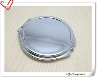 65mm Craft silver Blank compact Mirror frame Nickel E15