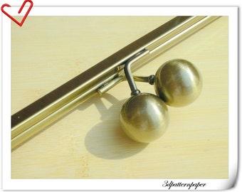 14 inch big bead on top metal purse frame clip anti bronze Y33