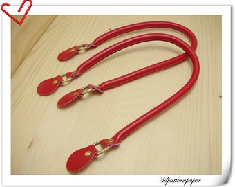 leather handles 22 inch a pair Red K14