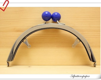 6 inch half round blue bobble Silver purse frame  (with loops) purse making supplies AB95O