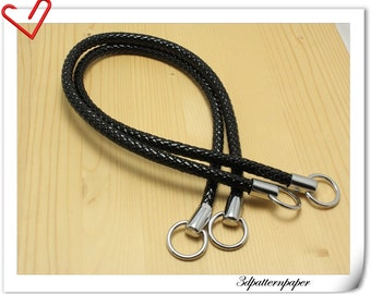 leather handles 25 inch PU  a pair Black AB51