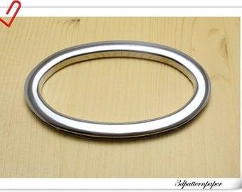 3 1/2 inch (Inner diameter)  handbag handle Silver oval cut out  bag handle  a pair D47