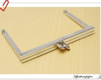 4 inch x 2 inch silver crimp purse frame (puse making supplies) B25