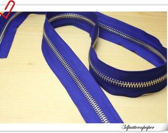 One Yard silver copper  Y teeth  two-way plough Zipper Blue (Make zipper yourself) AC14