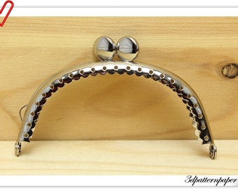 New 8.5 cm cake top purse frame  Nickel  with  perfect regular sewing holes B10