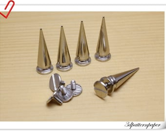 Silver Screw in bullet rivet spike 10mm x 29mm ( 3/8 inch x 1 1/4 inch ) 6sets Alloying AC47