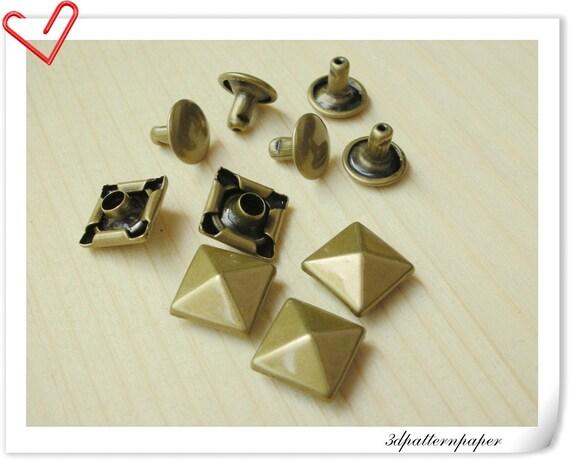50 pcs Copper Bronze 10mm Pyramid Spots Rivets AAA quality H14