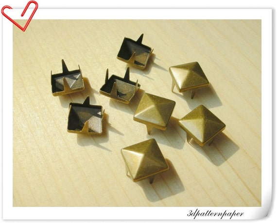 100 pcs  Copper bRONZE  8.5 mm Pyramid Spots Studs  AAA quality    i6