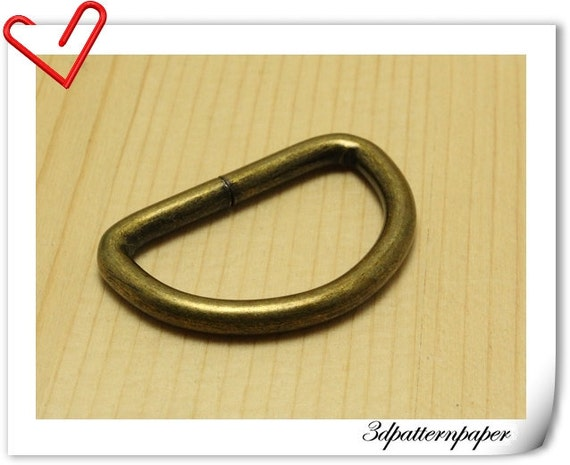 1  inch Inner size Old brass  D-rings 12pcs 5mm thickness AB102