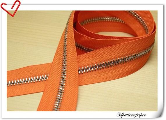 One Yard silver copper  Y teeth  two-way plough Zipper orange (no metal fitting)  AC16