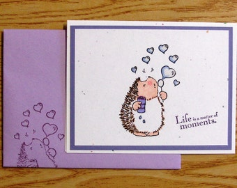 Handmade Hedgehog Greeting Card with Penny Black Images on Stampin Up Cardstock, PaperArt, blank inside