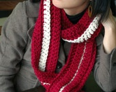 Cranberry and Cream Chunky Scarf
