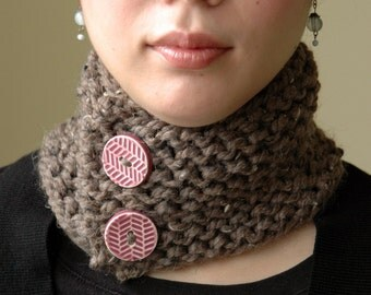 Brown Button Neckwarmer