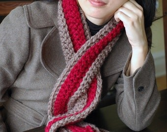 Cranberry and Taupe Chunky Scarf