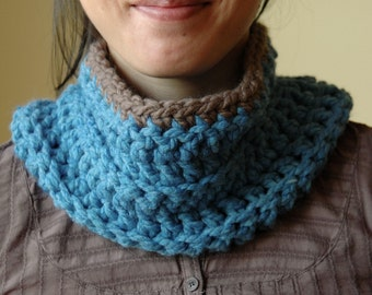 The Sky Blue and Taupe Cowl