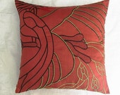 brick red abstract peacock throw pillow 16 inch custom made cushion cover